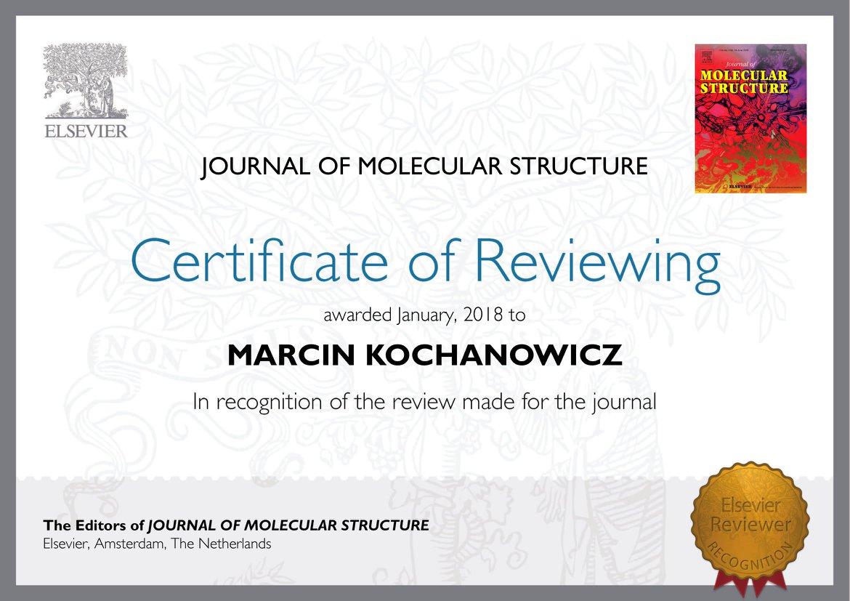 Dyplom uznania wydawnictwa Elsevier dla dr hab. inż. M. Kochanowicza za recenzowanie artykuów