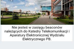System beaconów na Wydziale Elektrycznym: okno aplikacji przy pracy poza zasięgiem systemu