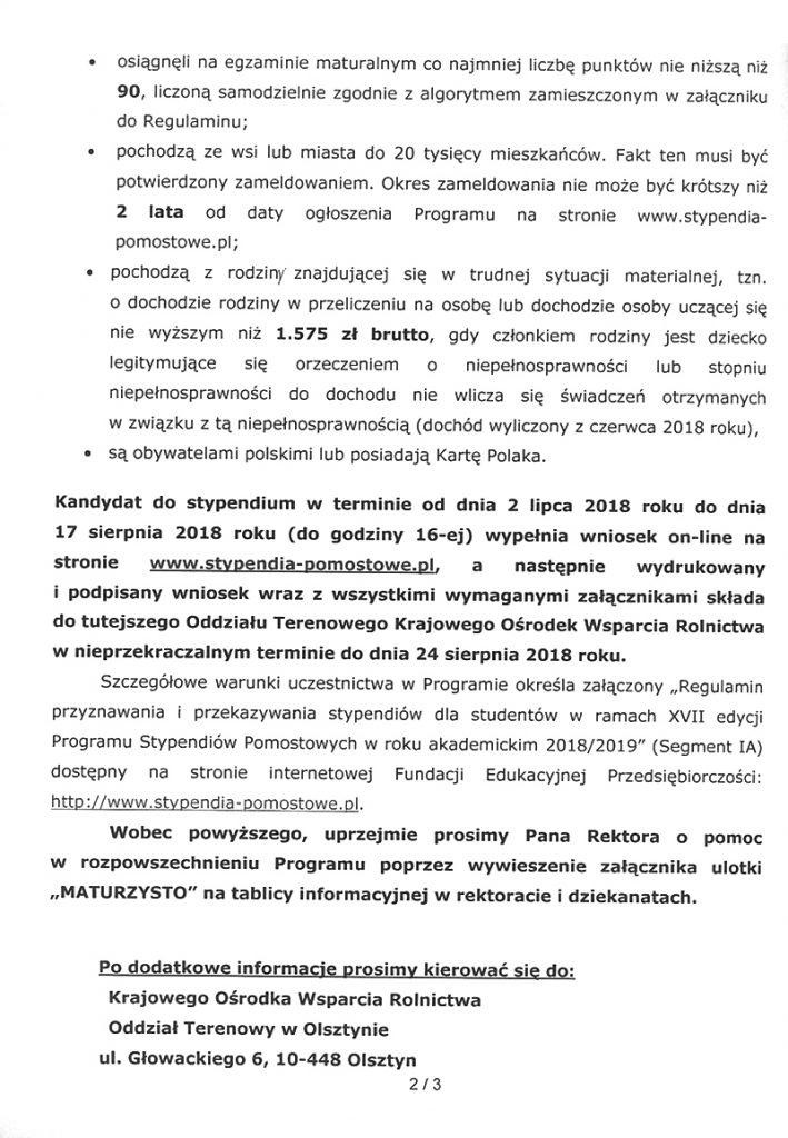 Pismo z Krajowego Ośrodka Wsparcia Rolnictwa, strona 2
