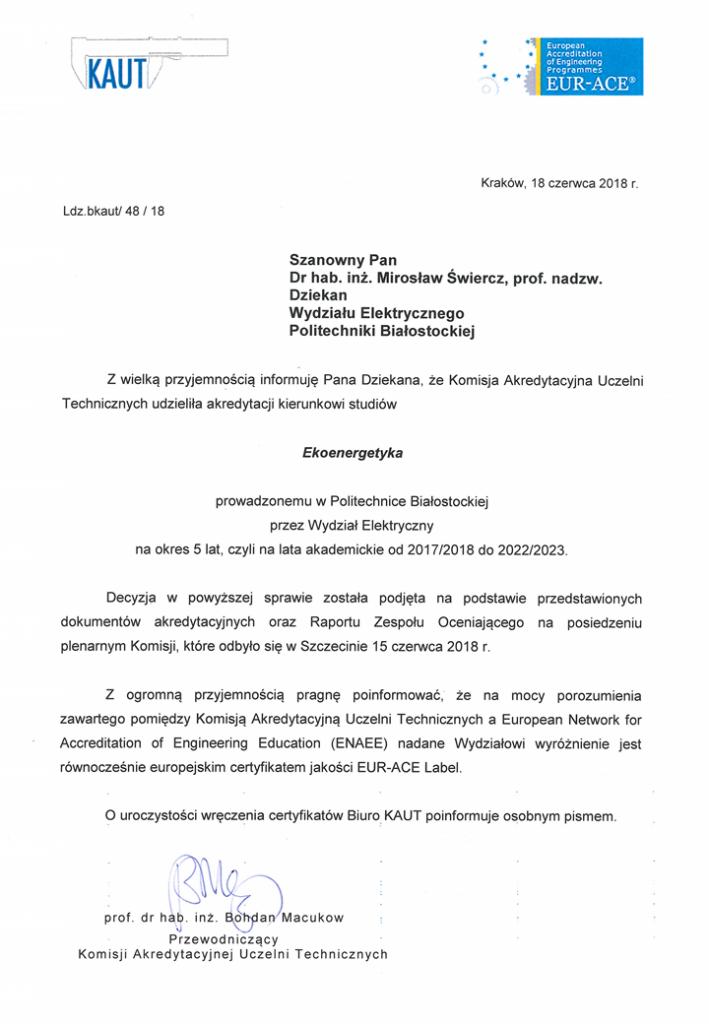 Pismo informujące o przyznaniu certyfikatu EUR-ACE(R) Label dla kierunku ekoenergetyka