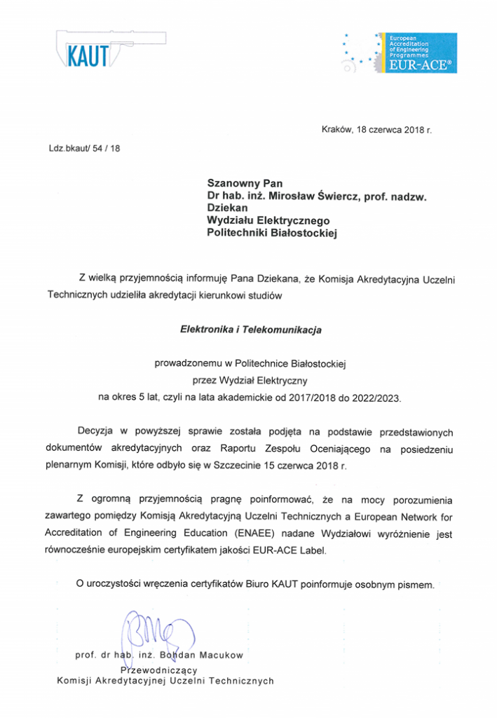 Pismo informujące o przyznaniu certyfikatu EUR-ACE(R) Label dla kierunku elektronika i telekomunikacja
