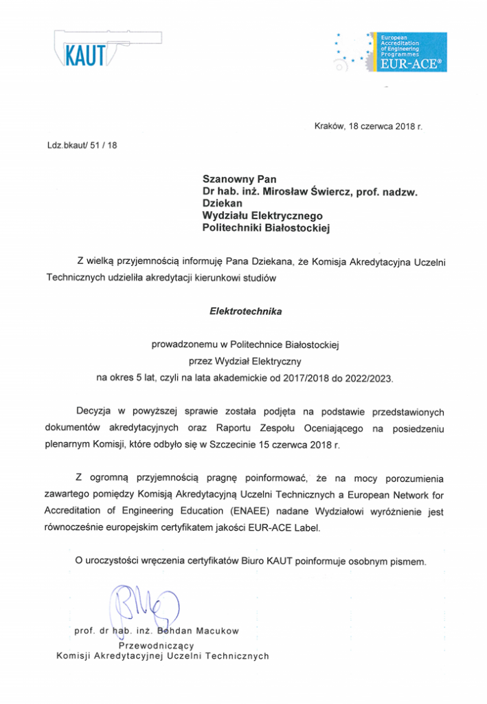Pismo informujące o przyznaniu certyfikatu EUR-ACE(R) Label dla kierunku elektrotechnika
