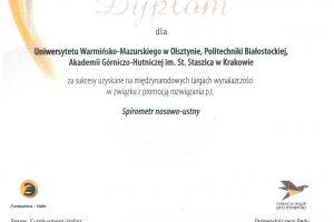 Dyplom Ambasadora Polskiej Wynalazczości przyznany za spirometr nosowo-ustny