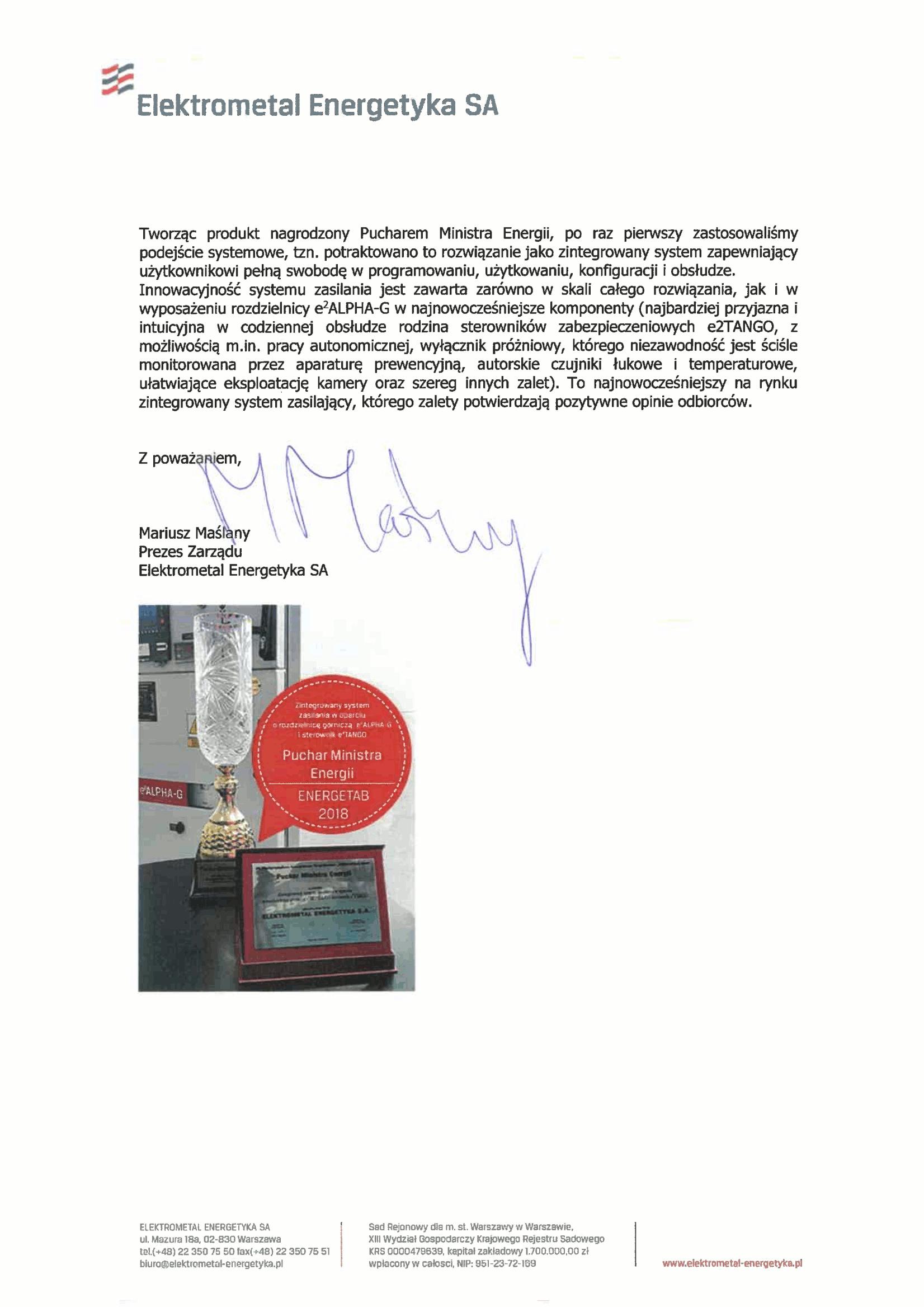 Podziękowanie od Elektrometal Energetyka S.A. - strona 2