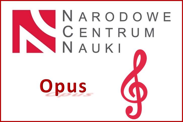 logo Narodowego Centrum Nauki, w centrum czerwony napis Opus oraz czerwony klucz wiolinowy